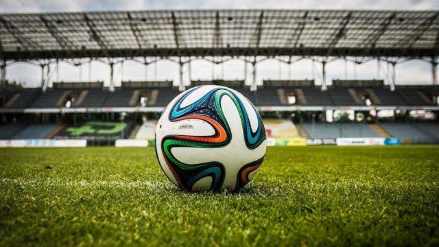 Voetbal-stock-grasveld-bal-stadion-